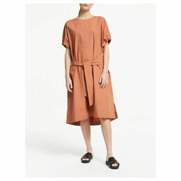 Kin Drawstring Sleeve Cotton Poplin Dress