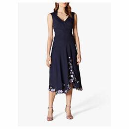 Karen Millen Floral Hem Dress, Navy/Multi