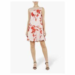 Ted Baker Jaazmin Fantasia Scallop Mini Dress, Pink/Multi