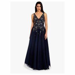 Adrianna Papell Beaded Mesh Maxi Dress, Navy