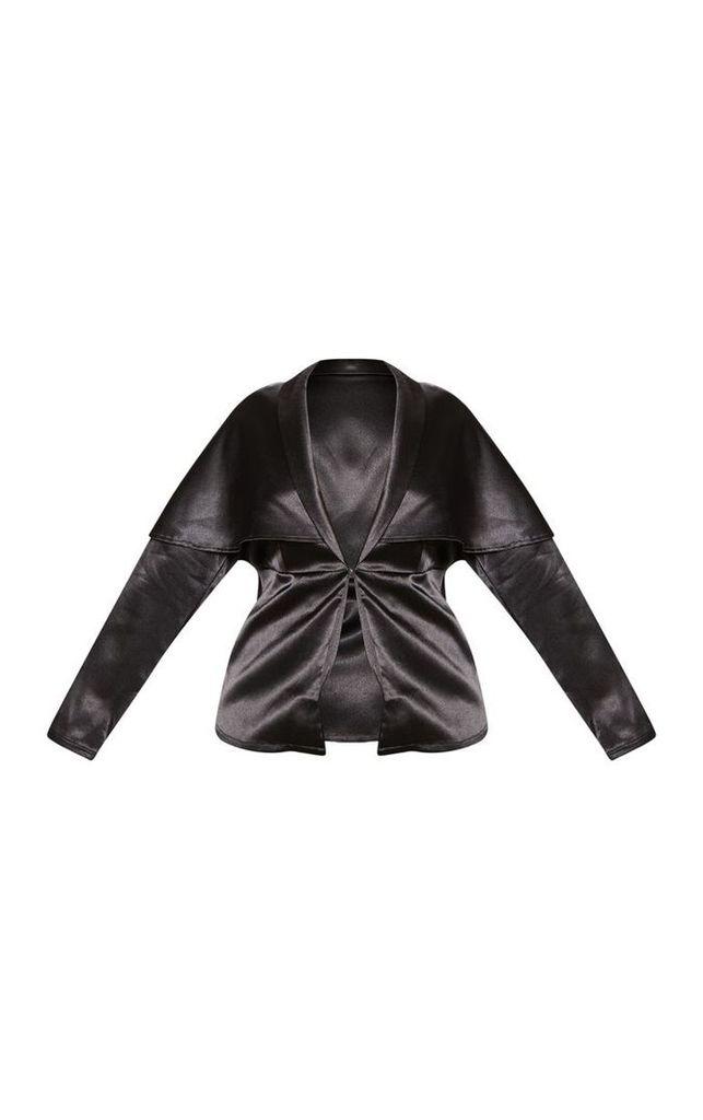 Plus Black Cape Satin Plunge Shirt, Black