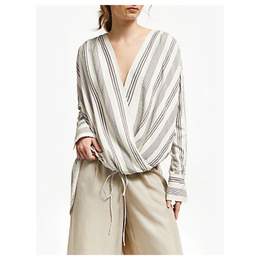 Modern Rarity Stripe Wrap Front Blouse, Natural