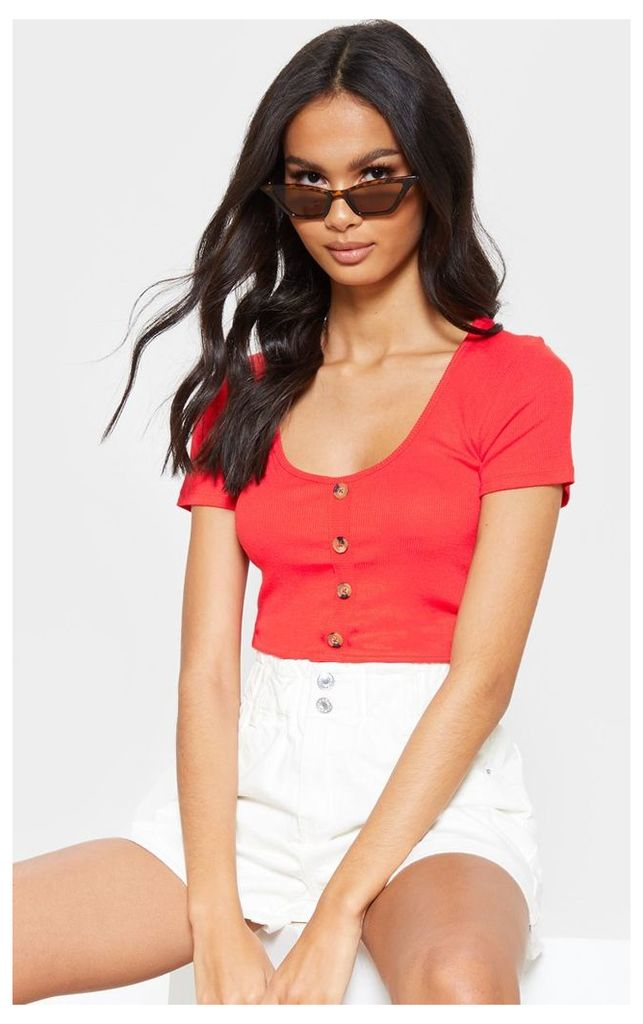 Red Scoop Neck Button Front Short Sleeve Top, Red