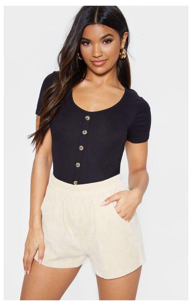 Black Scoop Neck Button Front Short Sleeve Top, Black
