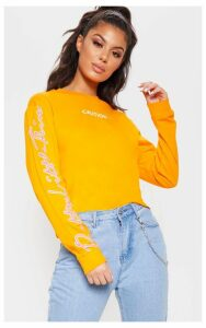 PRETTYLITTLETHING Neon Orange Slogan Oversized Sweater, Neon Orange