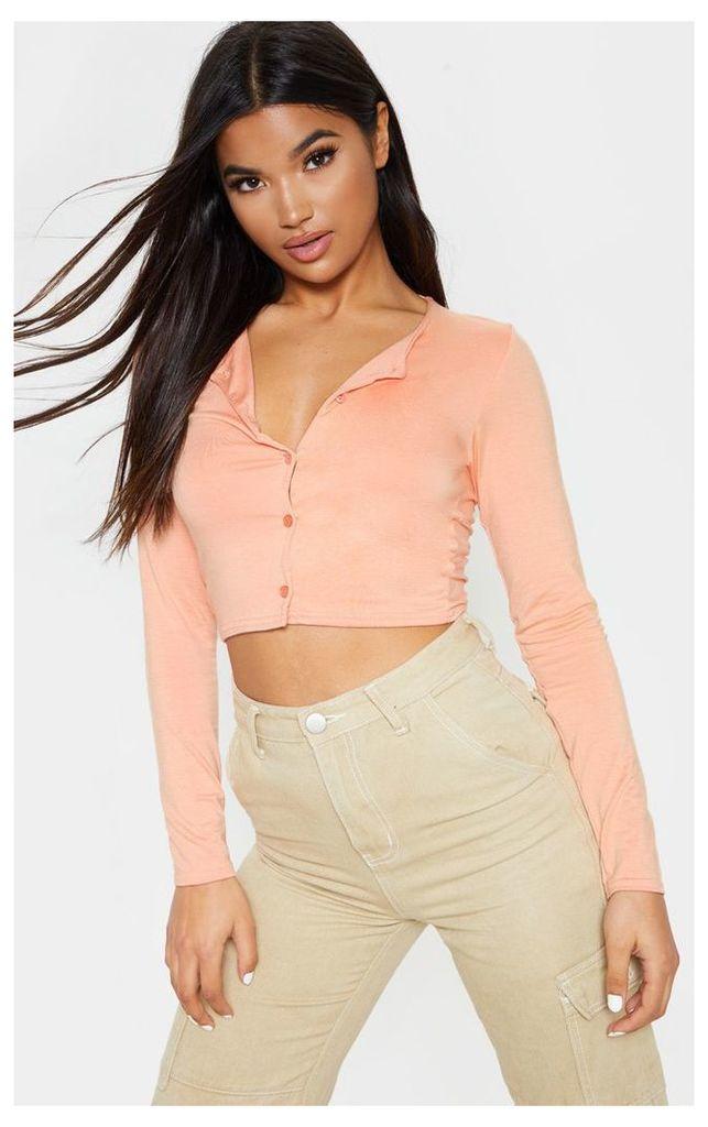 Peach Button Front Long Sleeve Crop Top, Orange