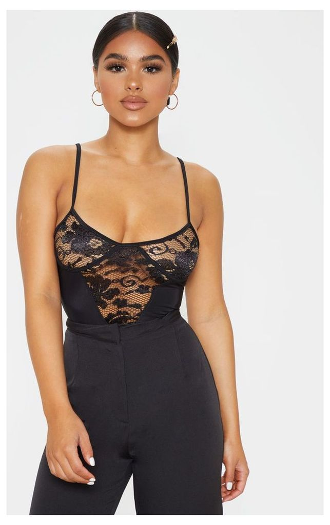 Petite Black Strappy Lace Bodysuit, Black