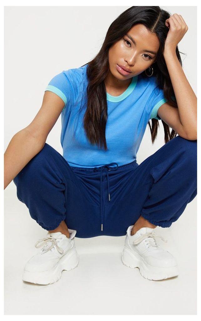 Blue Contrast Trim T Shirt, Blue