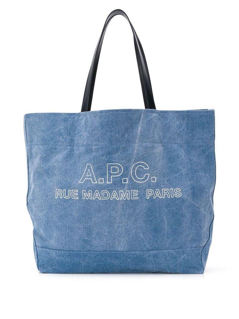 A.P.C. denim tote bag - Blue