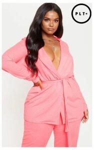 Plus Neon Pink Belt Detail Blazer, Neon Pink