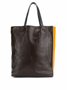 Marni colour-block tote bag - Brown