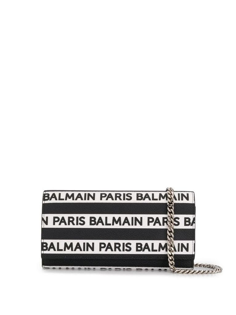 Balmain logo stripe mini bag - Black
