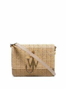 JW Anderson beige logo-plaque woven-straw bag - Neutrals