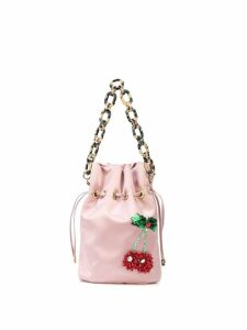 Edie Parker Cherry drawstring bag - Pink