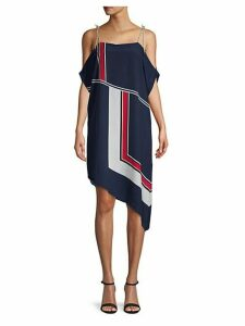 Edyte Cold-Shoulder Tie Scarf Dress
