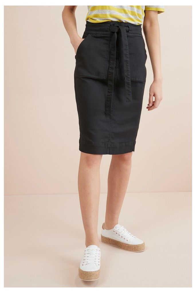 Womens Next Forever Black Utility Midi Denim Skirt -  Black