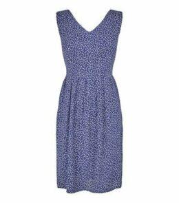 Blue Vanilla Navy Leaf Tie Waist Dress New Look