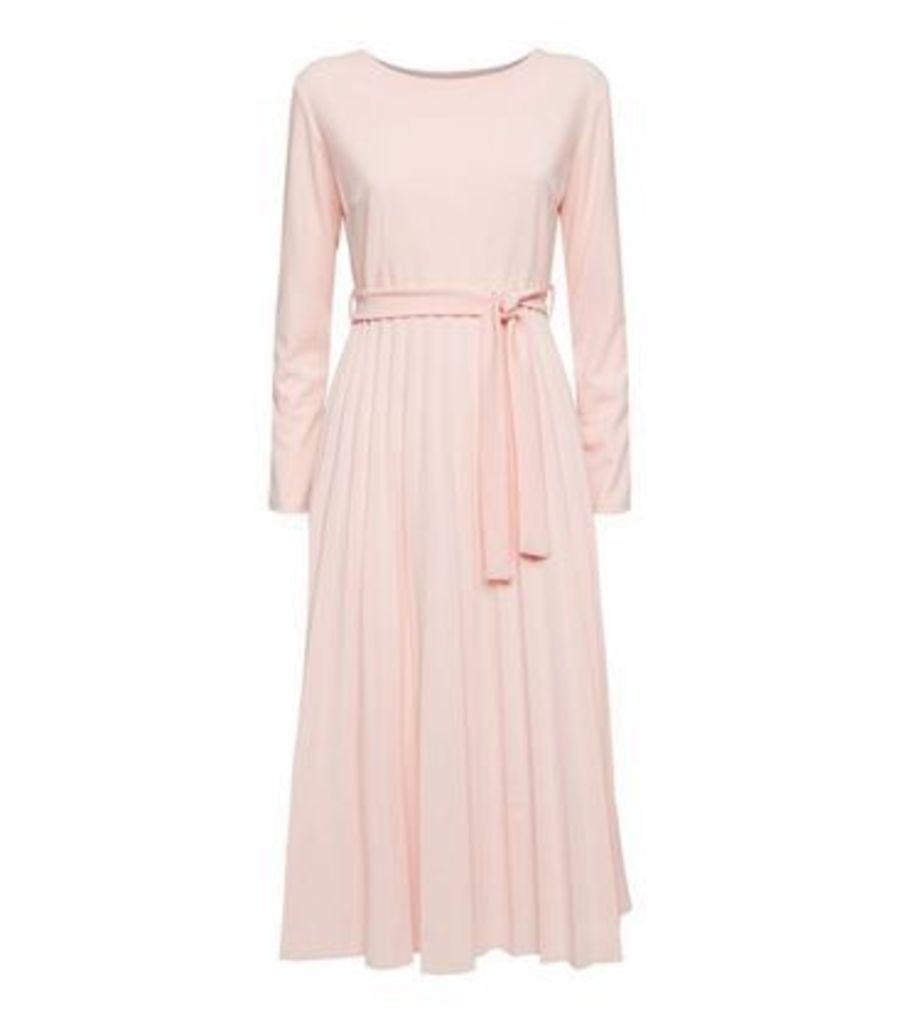 Cameo Rose Pale Pink Pleated Tie Waist Midi Dress New Look