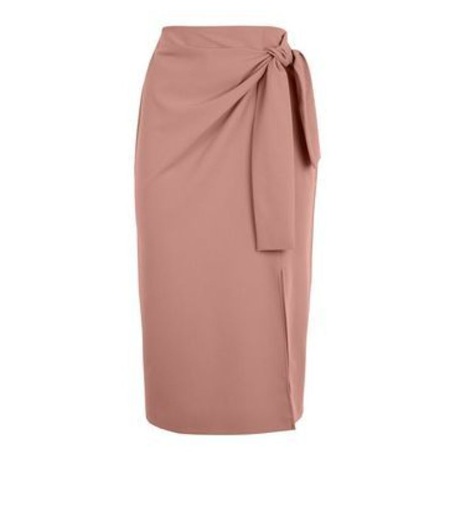 Camel Tie Side Midi Skirt New Look