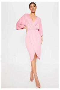 Womens PrettyLittleThing Kimono Wrap Dress -  Pink