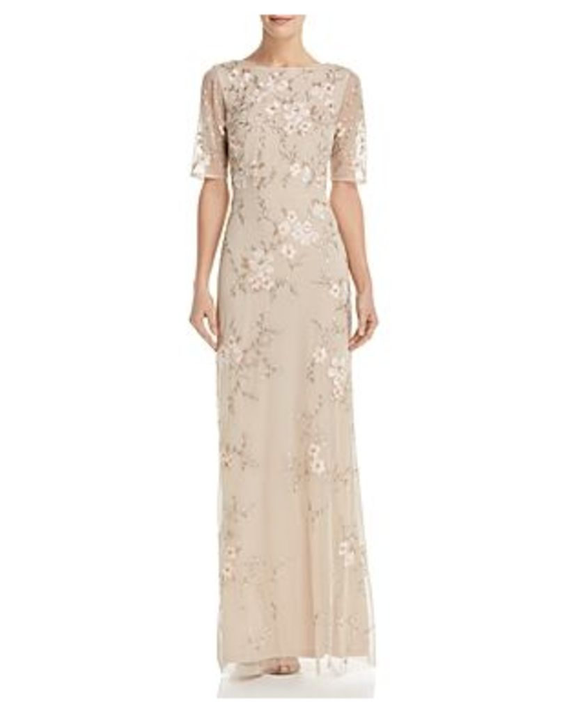 Adrianna Papell Embellished Floral Gown
