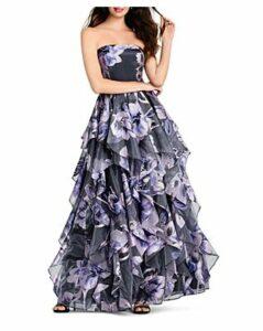 Aidan Mattox Strapless Floral Ball Gown