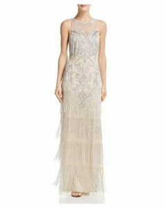 Aidan Mattox Embellished Fringe Gown