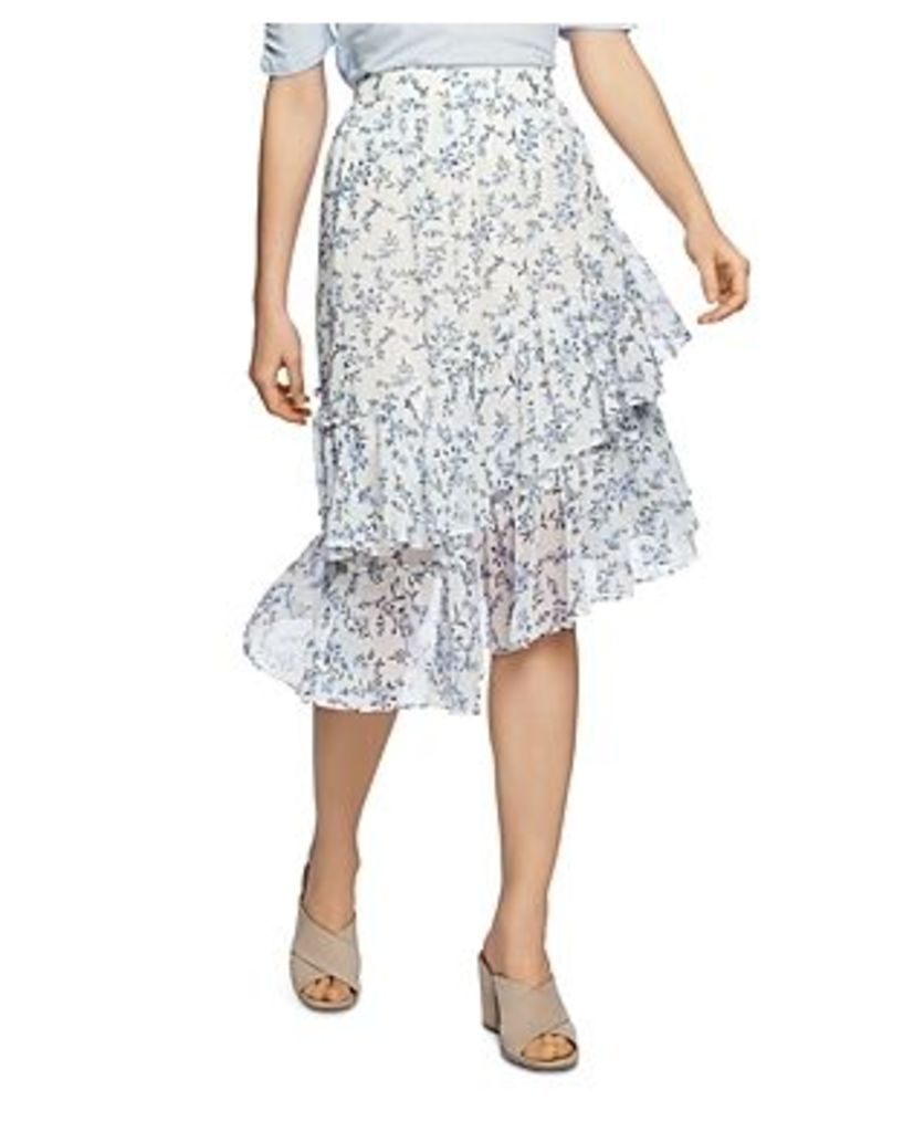 1.state Floral-Print Tiered Asymmetric Skirt