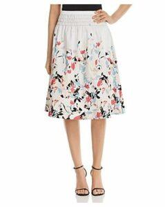 Donna Karan New York Floral-Print Smocked-Waist Skirt