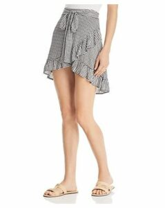 En Creme Faux-Wrap Gingham Skirt