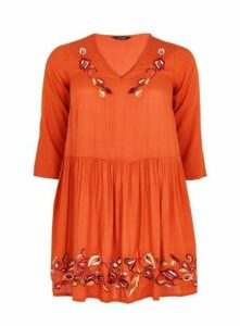 Rust Embroidered Tunic, Brown