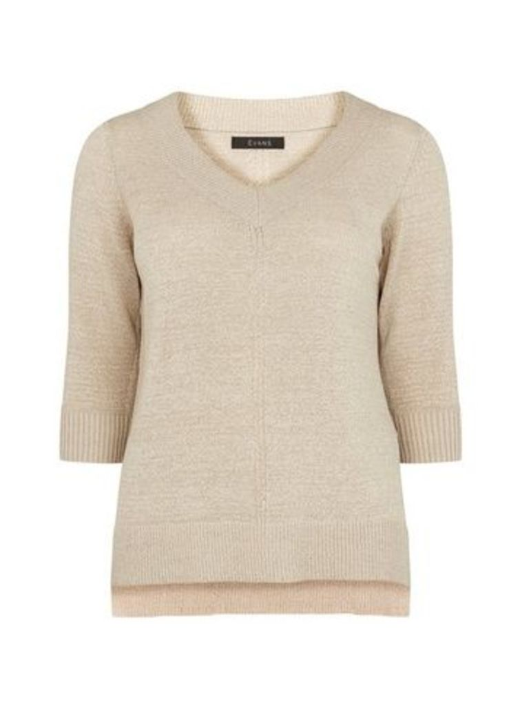 Stone V-Neck Jumper, Stone