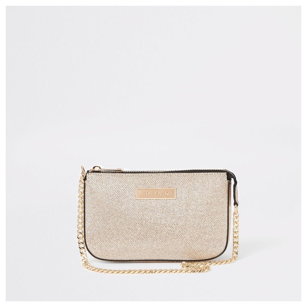 Womens Gold glitter underarm mini bag