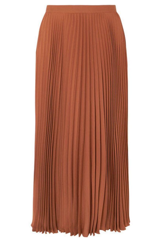 Valentino - Pleated Silk Midi Skirt - Orange