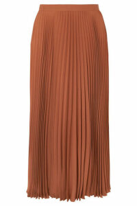Valentino - Pleated Silk Midi Skirt - Orange