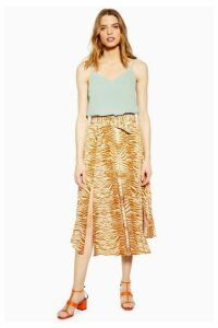 Womens Tall Zebra Belted Pleated Midi Skirt - Orange, Orange