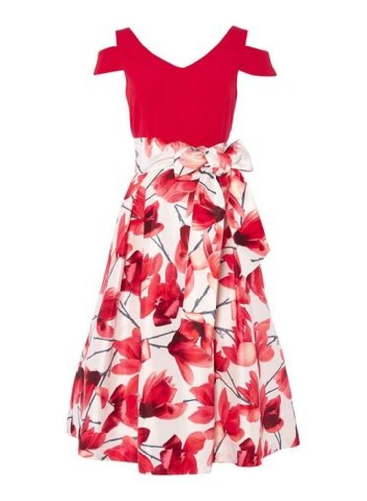 Womens *Roman Originals Red Floral Print Fit And Flare Dress- Red, Red