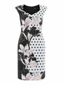 Womens *Roman Originals Black Spot And Floral Print Dress- Black, Black