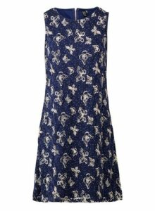 Womens *Izabel London Navy Butterfly Print Shift Dress- Navy, Navy
