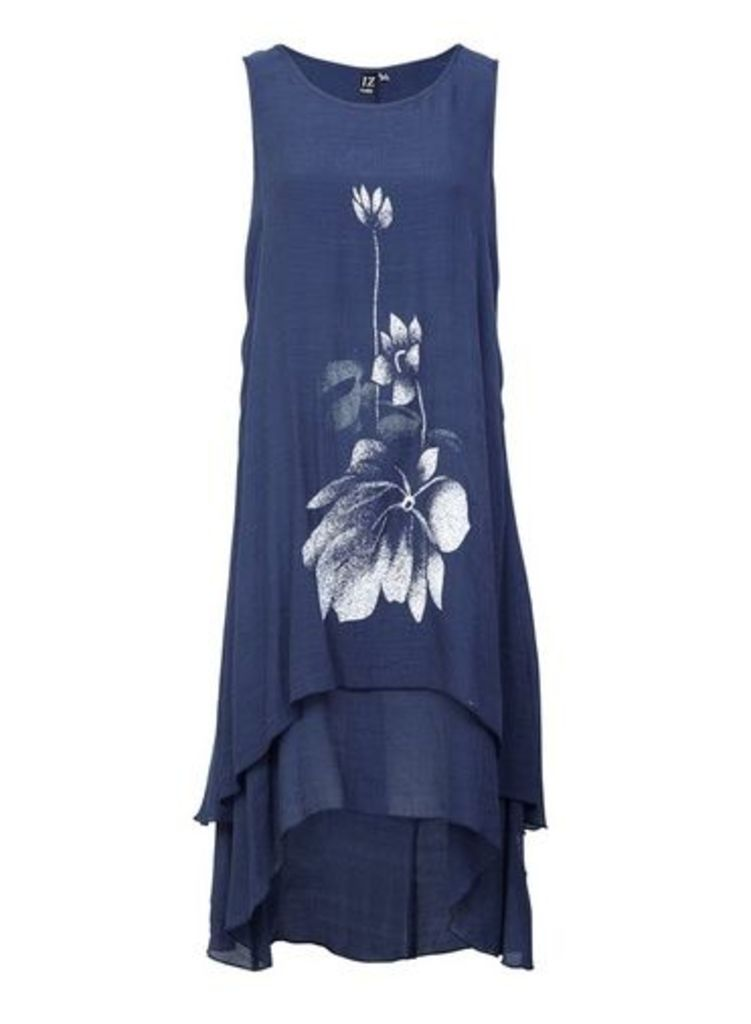 Womens *Izabel London Blue Floral Print Swing Dress- Navy, Navy