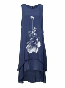 Womens *Izabel London Blue Floral Print Swing Dress- Navy, Navy