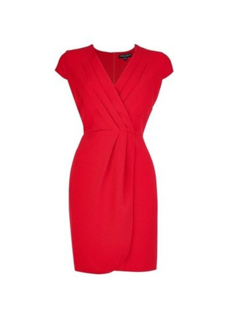Womens **Red Pleated Front Dress- Red, Red