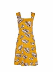 Womens Yellow Square Neck Print Fit And Flare Dress- Yellow, Yellow