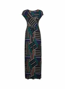Womens Multi Coloured Wrap Belted Jersey Maxi Dress- Blue, Blue