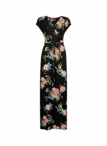 Womens Black Wrap Belted Jersey Maxi Dress- Black, Black