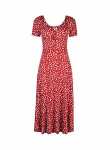Womens Red And White Floral Print Short Sleeve Midi Dress- Red, Red