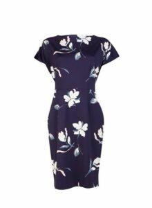 Womens **Lily & Franc Navy Floral Print Scuba Dress- Blue, Blue
