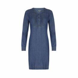 Blue Pintuck Detail Tencel Dress