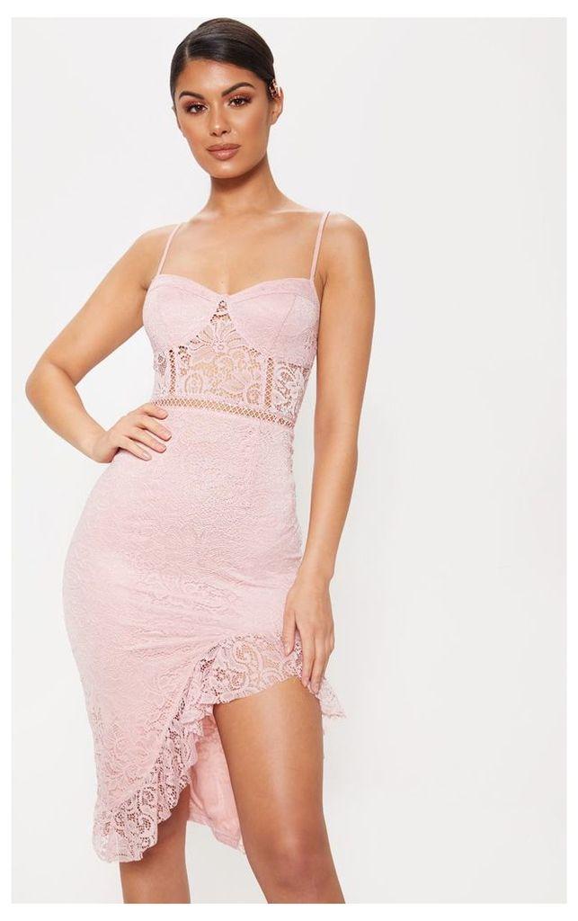 Dusty Pink Strappy Lace Frill Hem Midi Dress, Dusty Pink
