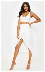 Cream Jumbo Rib Tie Waist Wrap Midi Skirt, White